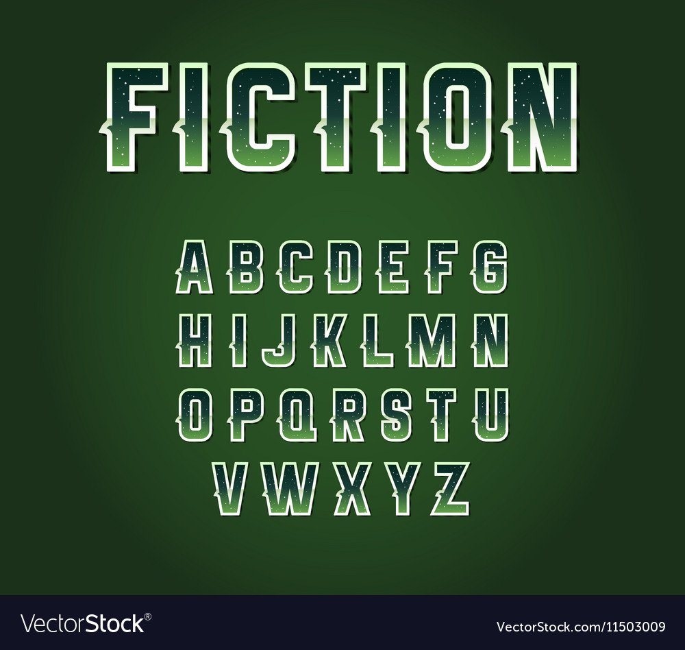 Green 80s Retro Sci-Fi Font Set with Stars Inside vector image