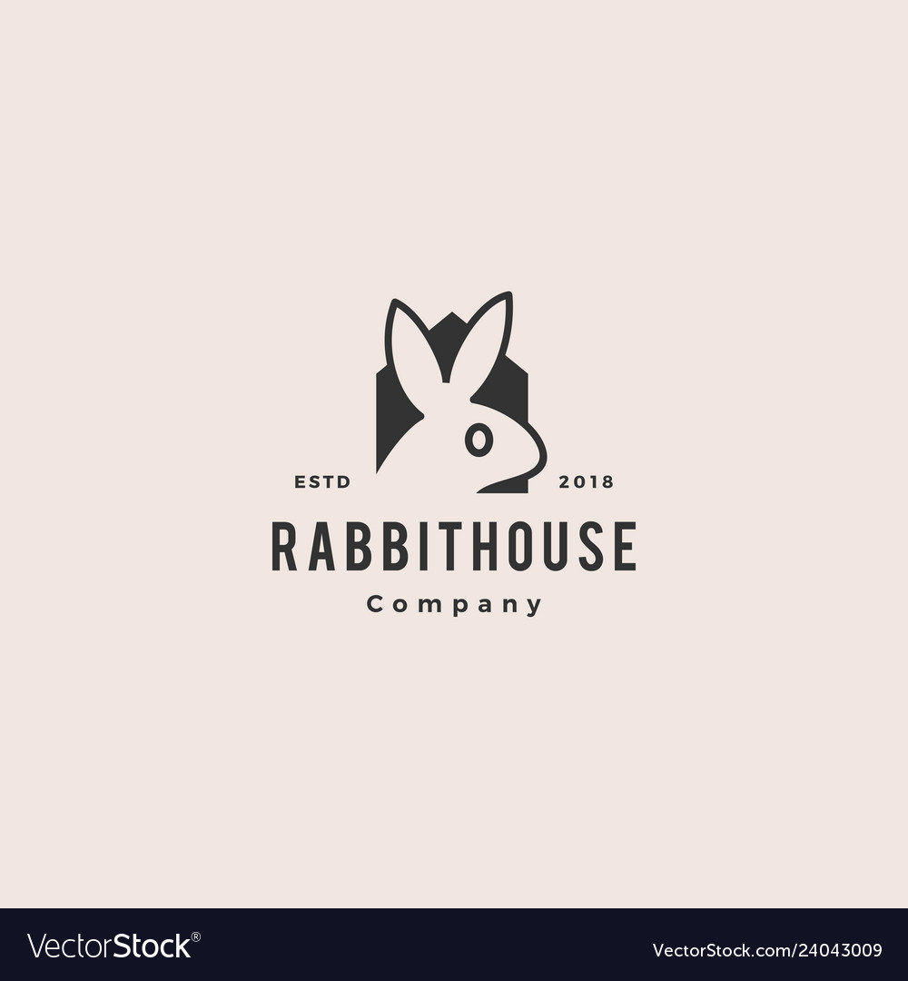 Rabbit house home logo vintage retro hipster icon