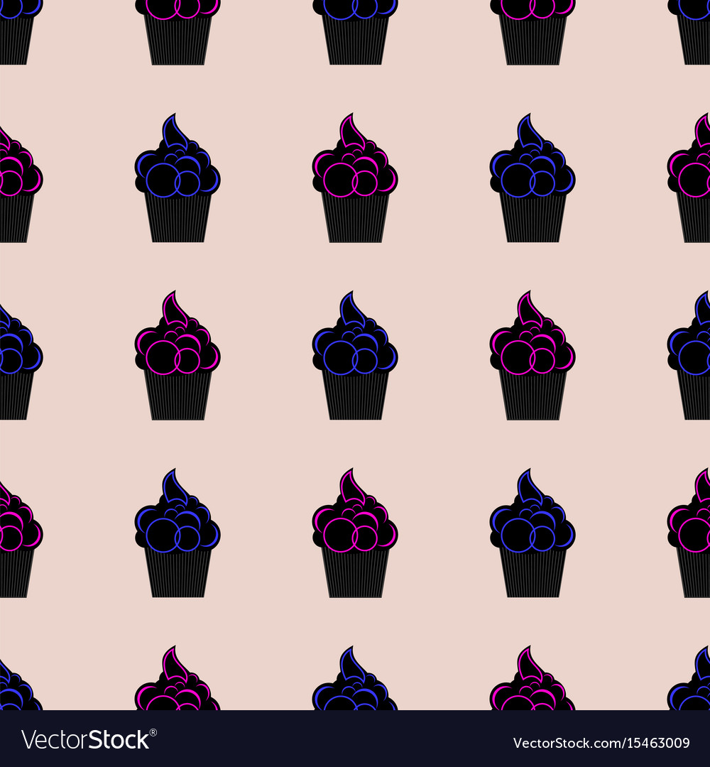 Seamless pattern with cupcakes pink and blue vector image
