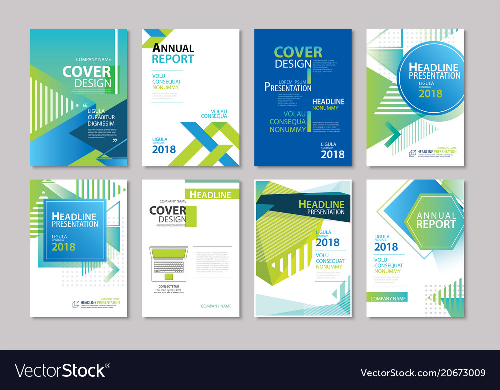 Set of blue cover brochure flyer annual report