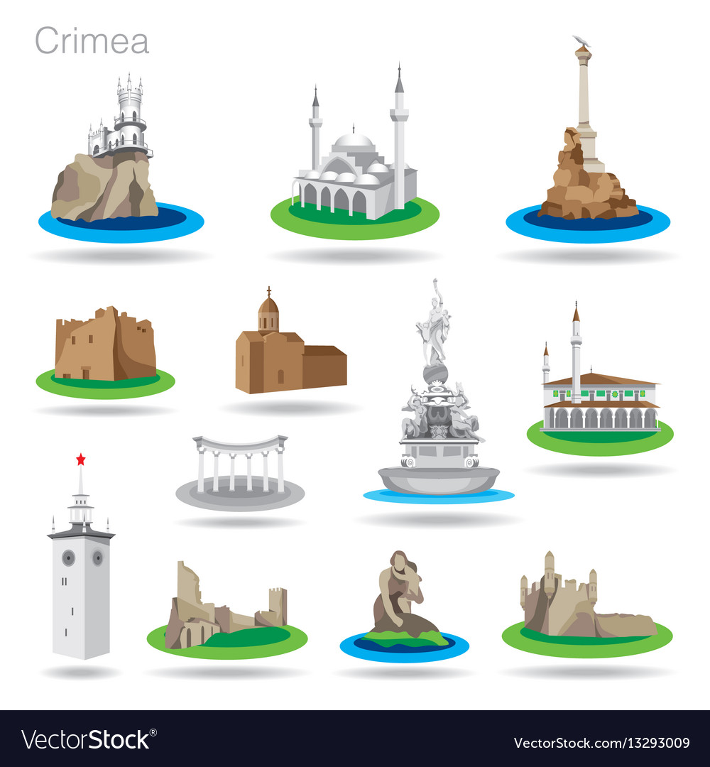 Set of color crimea icons drawing
