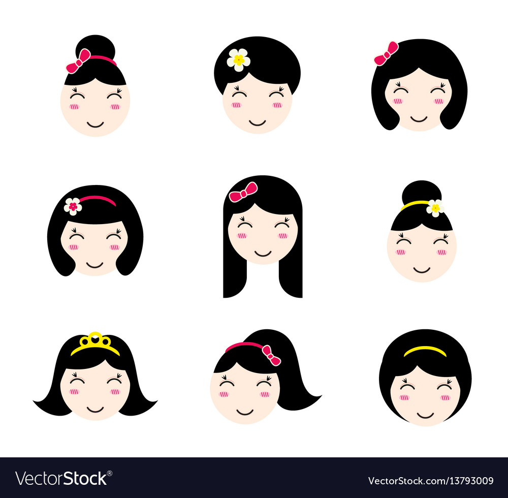 Set of cute anime girl characters with different vector image