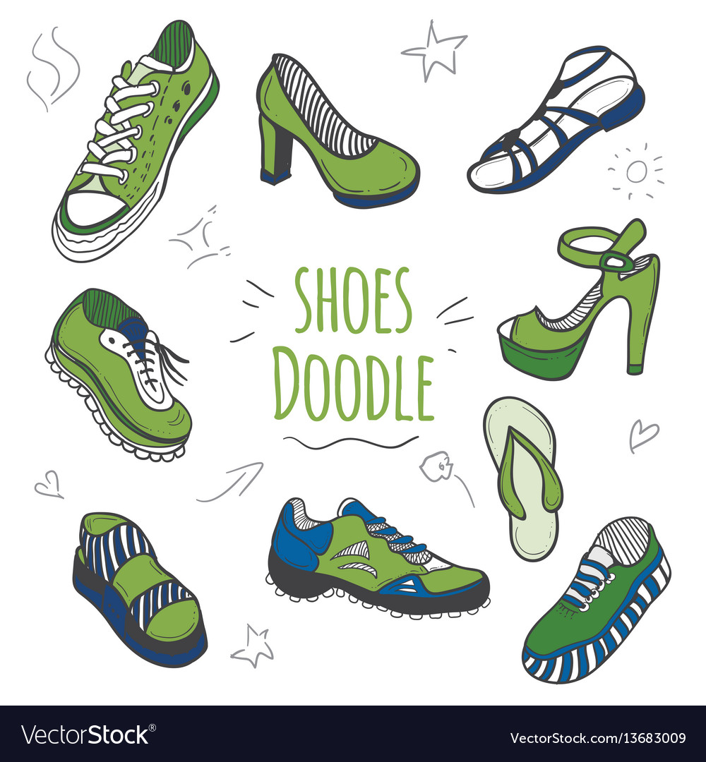 Set of doodle shoes with sneakers
