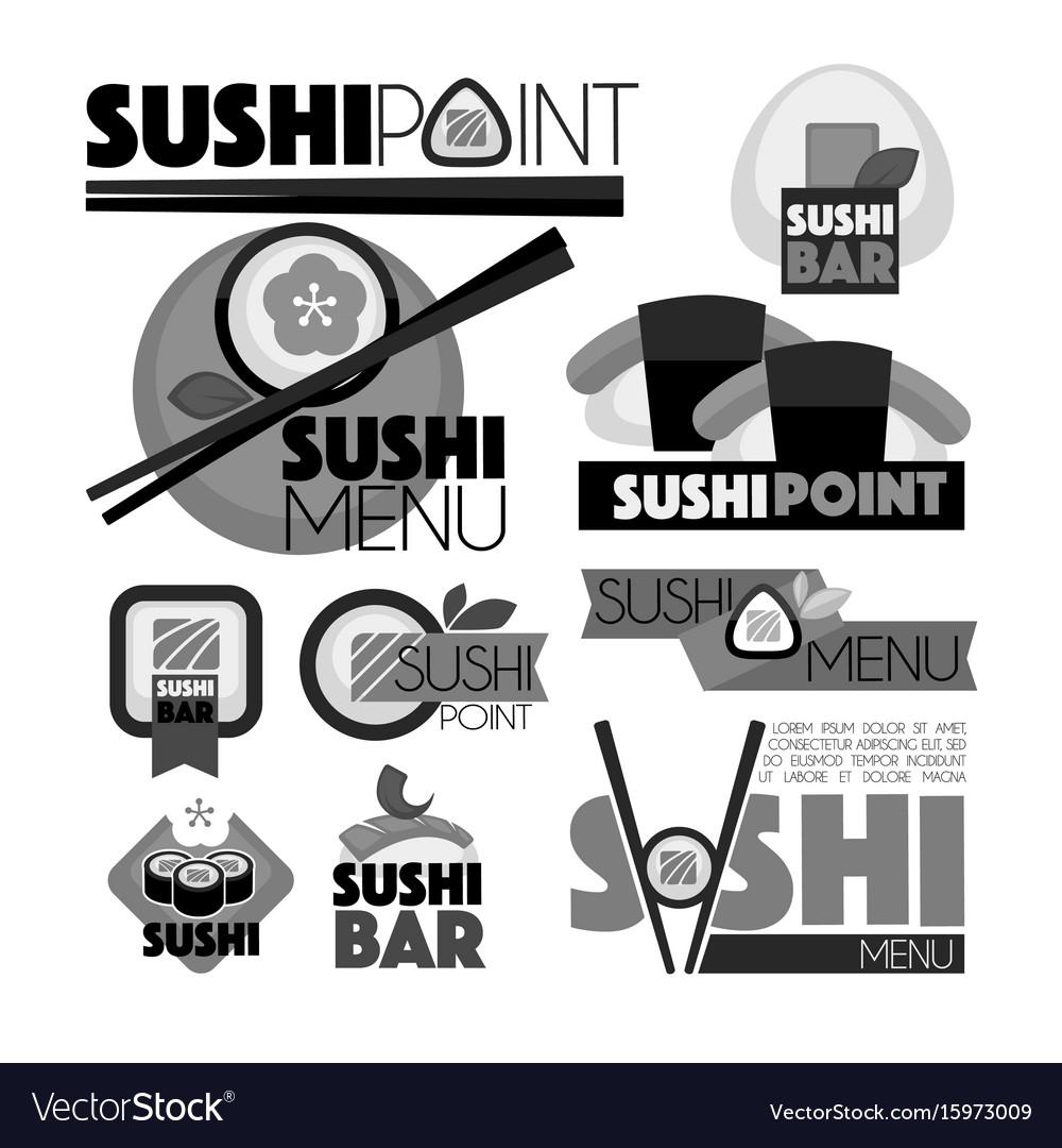 Sushi point bar menu monochrome set of emblems