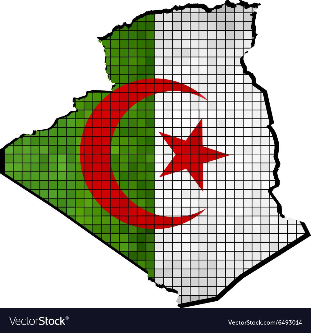 Algeria map with flag inside