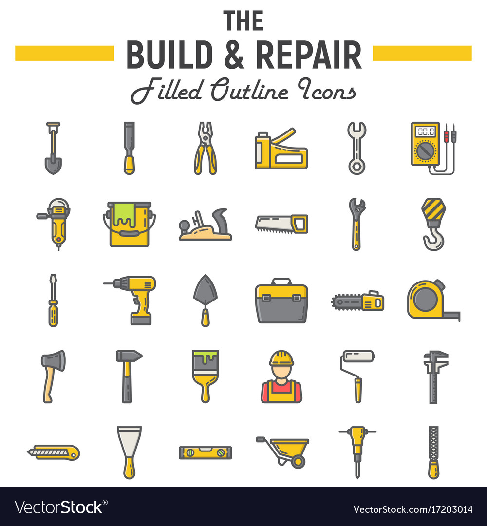 Build and repair filled outline icon set