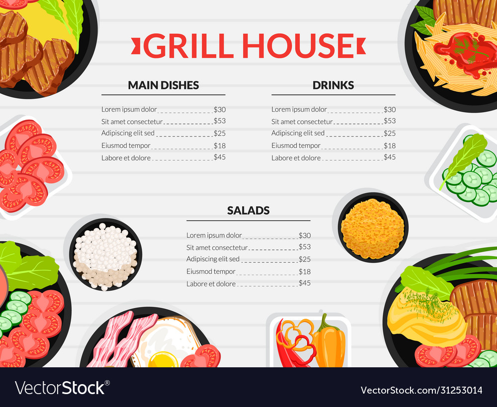 Grill house menu template main dishes drinks