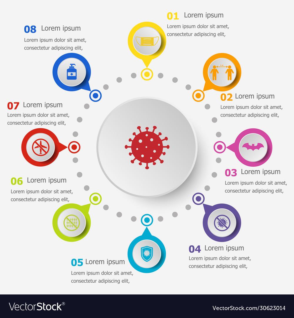 Infographic template with coronavirus icons
