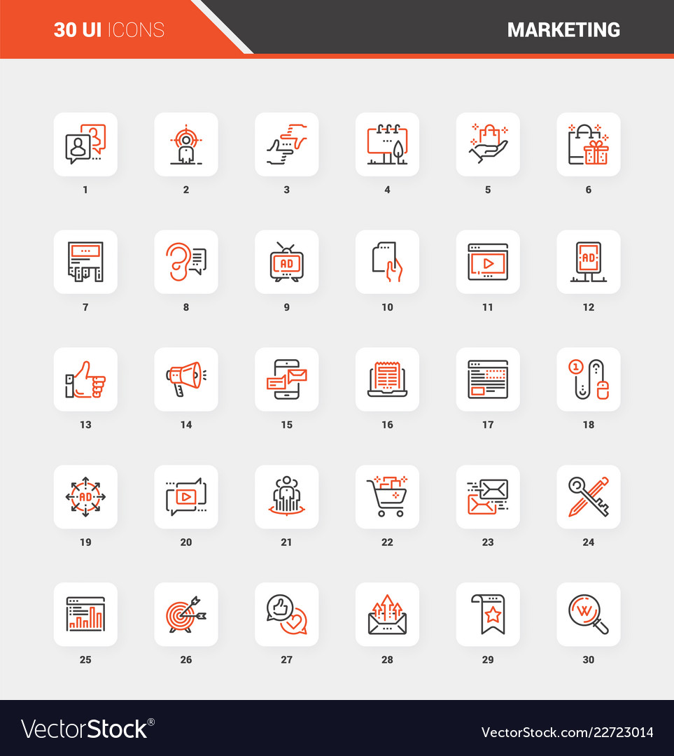Marketing and advertising flat line web icons
