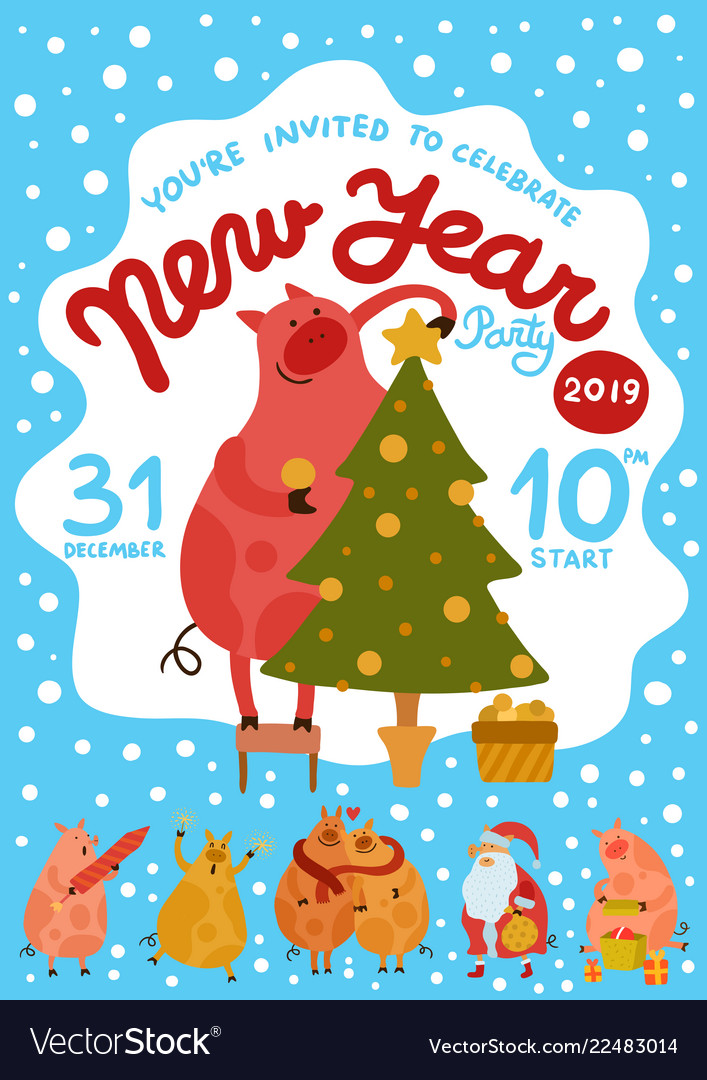 Piggies new year party poster