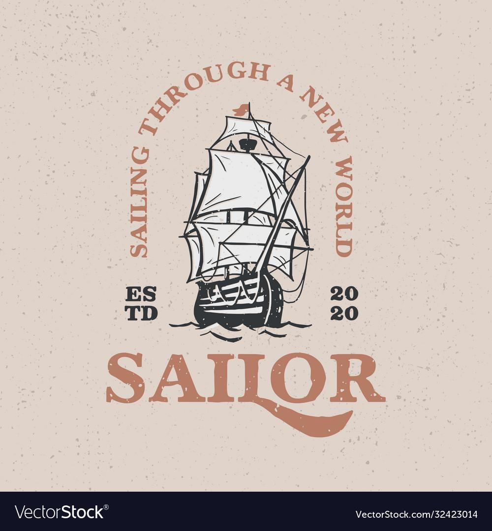 Sailing boat vintage logo icon
