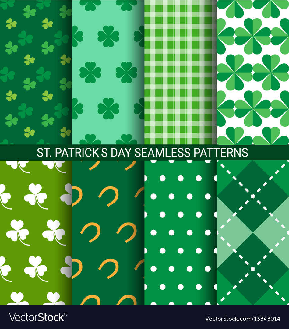 Set of abstract shamrock seamless patterns for st