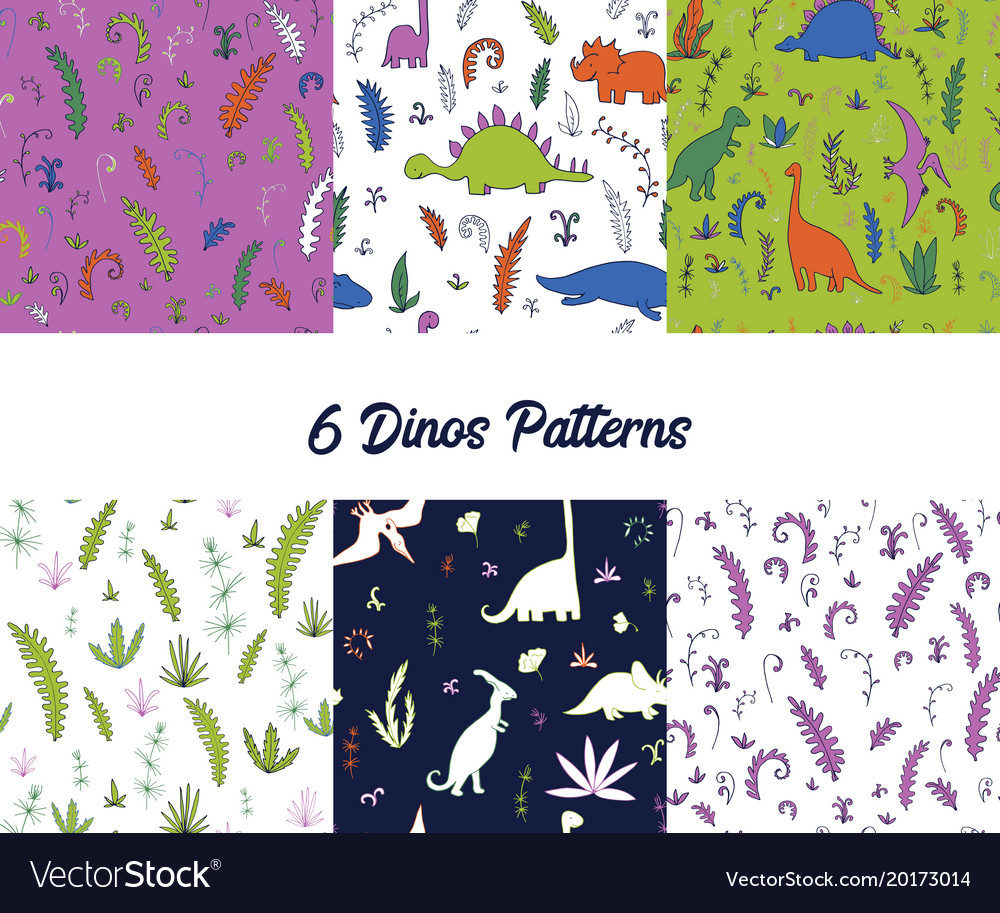 Set seamless pattern with dinosaurs