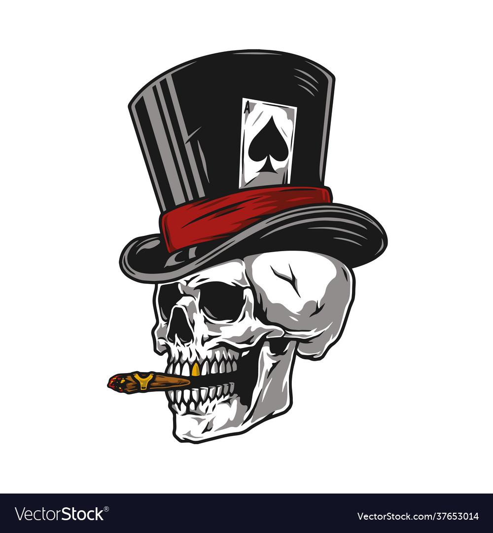 Skull smoking cigar in top hat