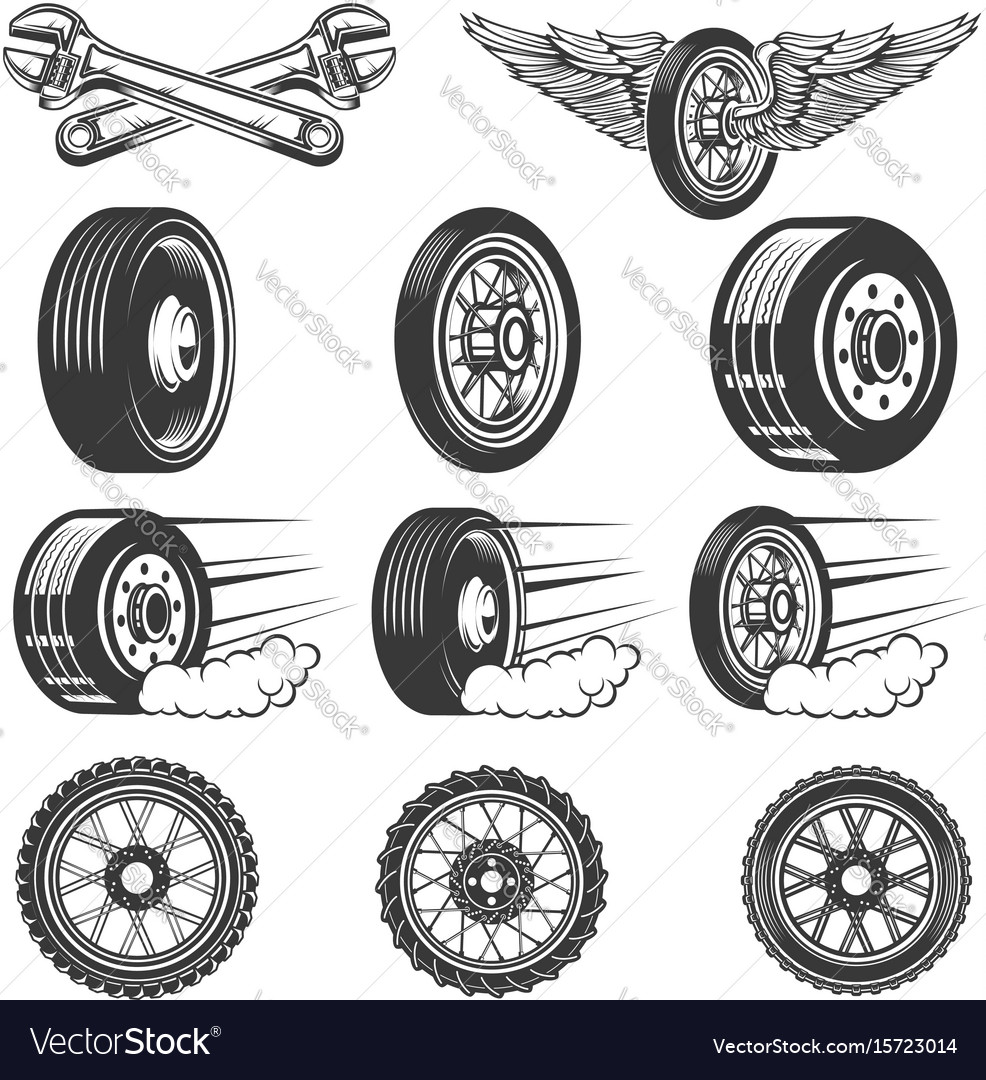 Tire service set of car tires isolated on white
