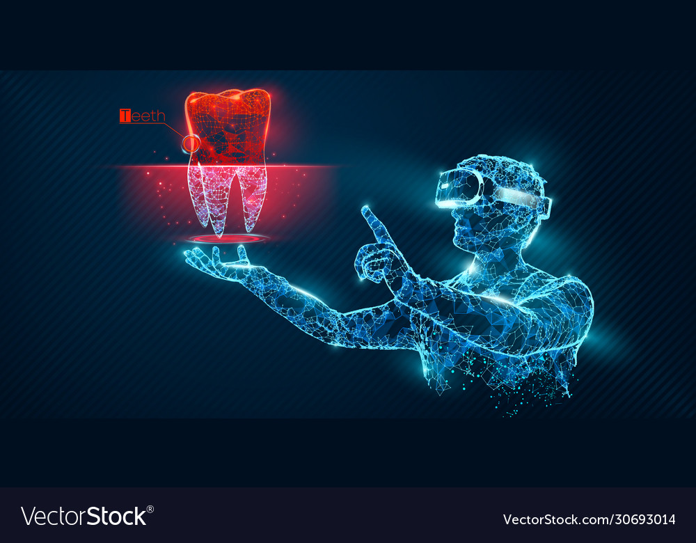 Vr wireframe headset man with tooth banner