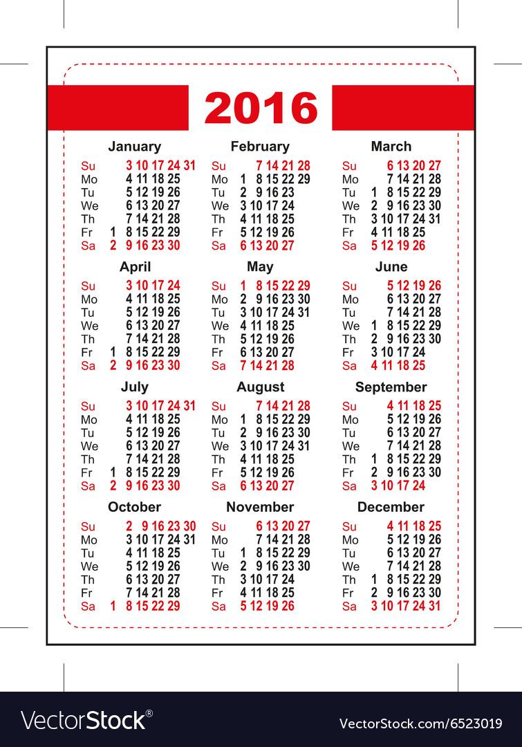 2016 pocket calendar first day sunday vertical vector image