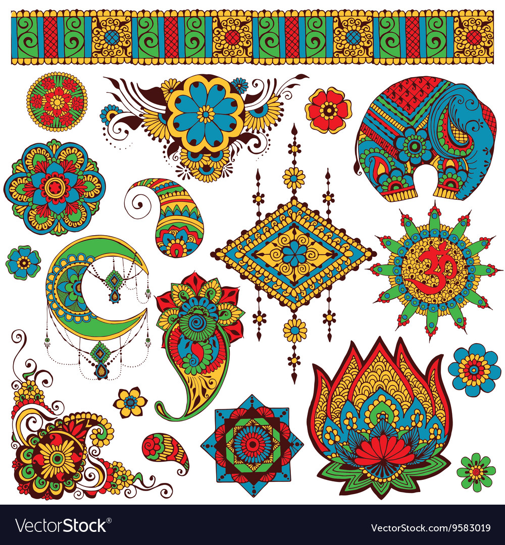 A set of Indian symbols for design vector image