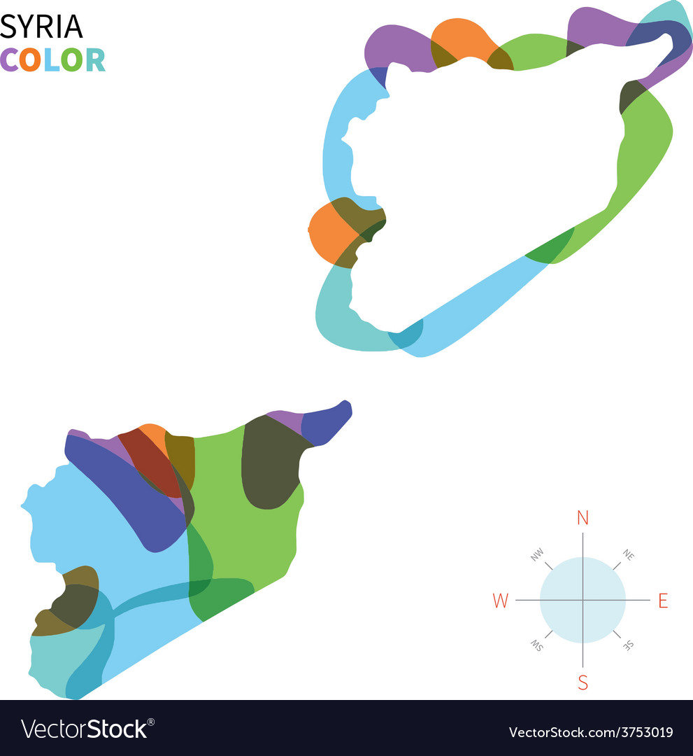 Abstract color map of Syria vector image