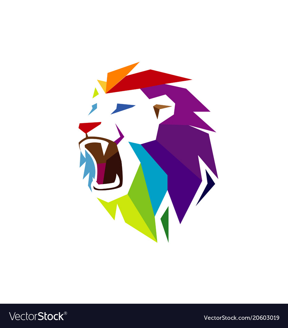 Creative Abstract Colorful Lion Head Logo Vector Image