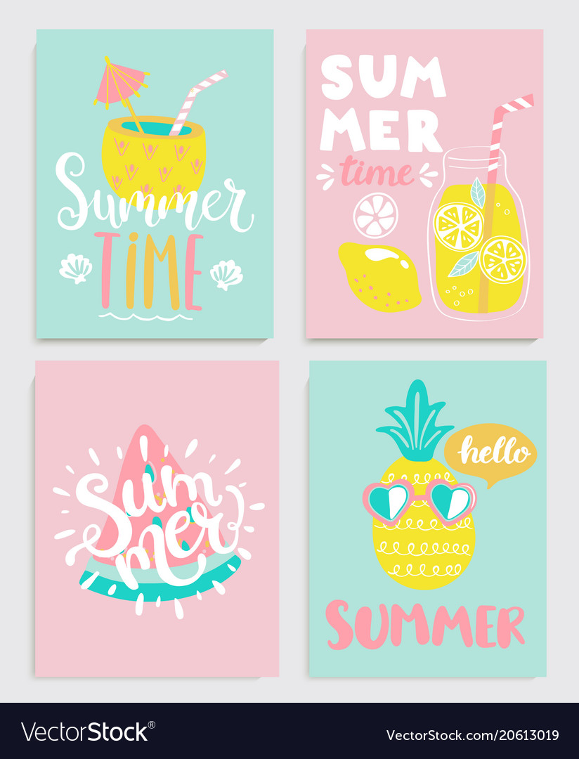 Cute set of bright summer cards