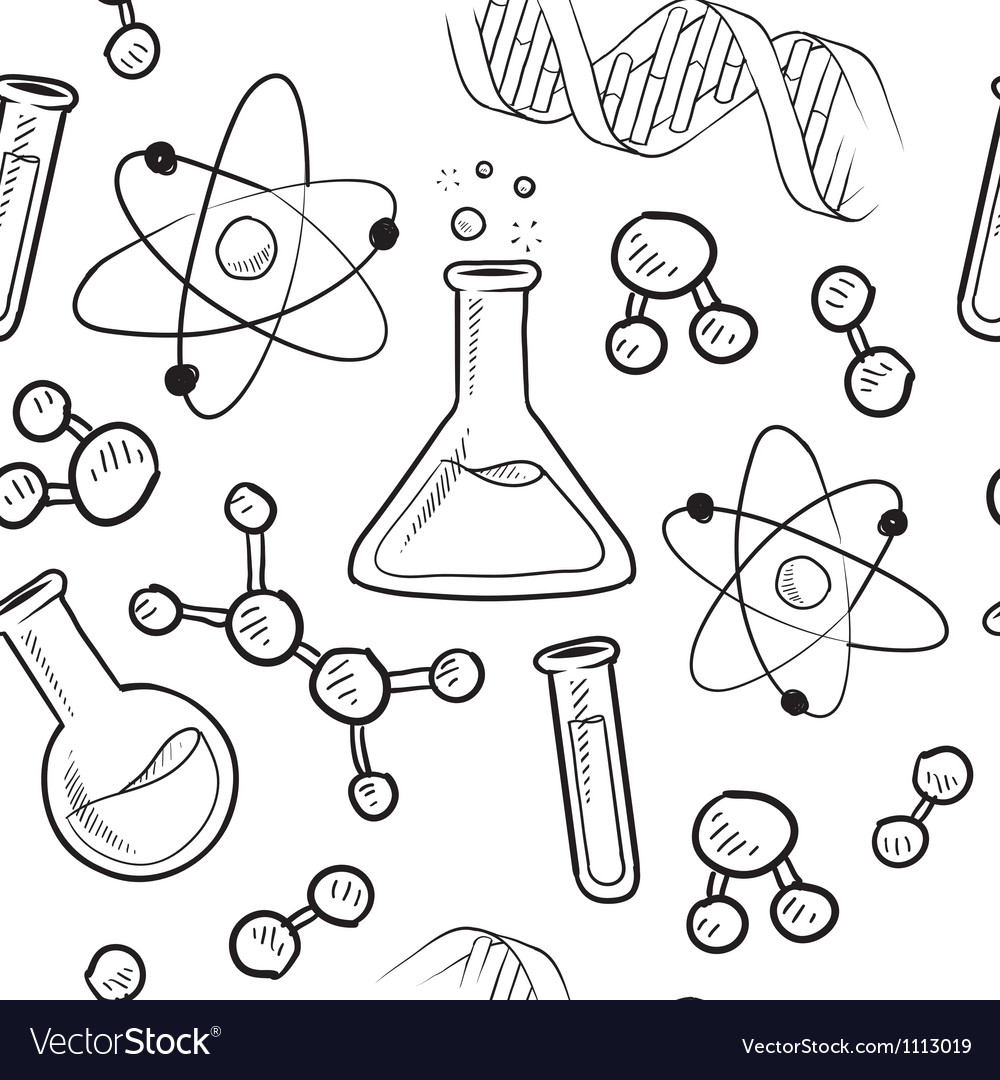 Doodle science pattern seamless
