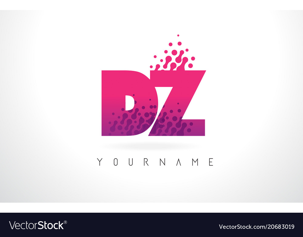 Dz d z letter logo with pink purple color and