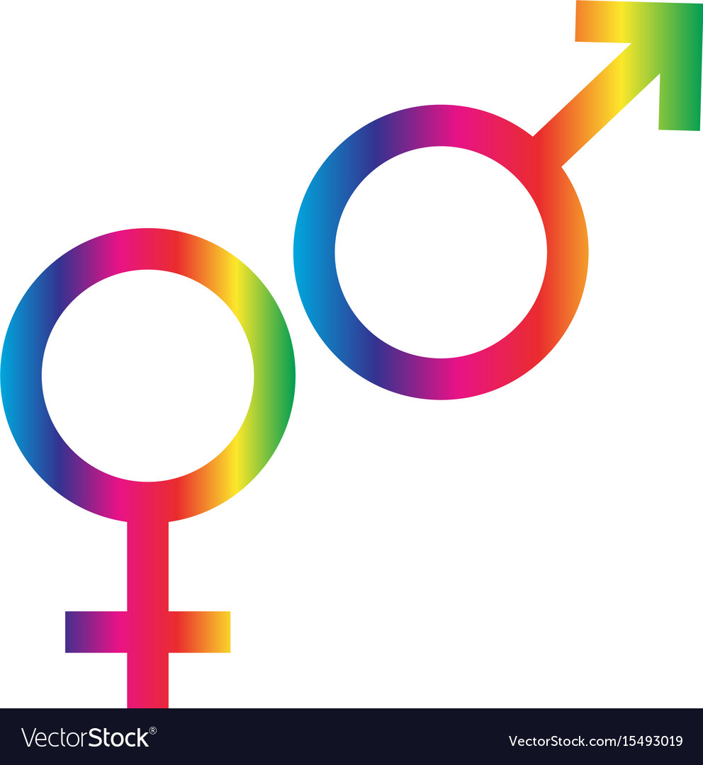 Gradient Rainbow Male Female Symbols Royalty Free Vector