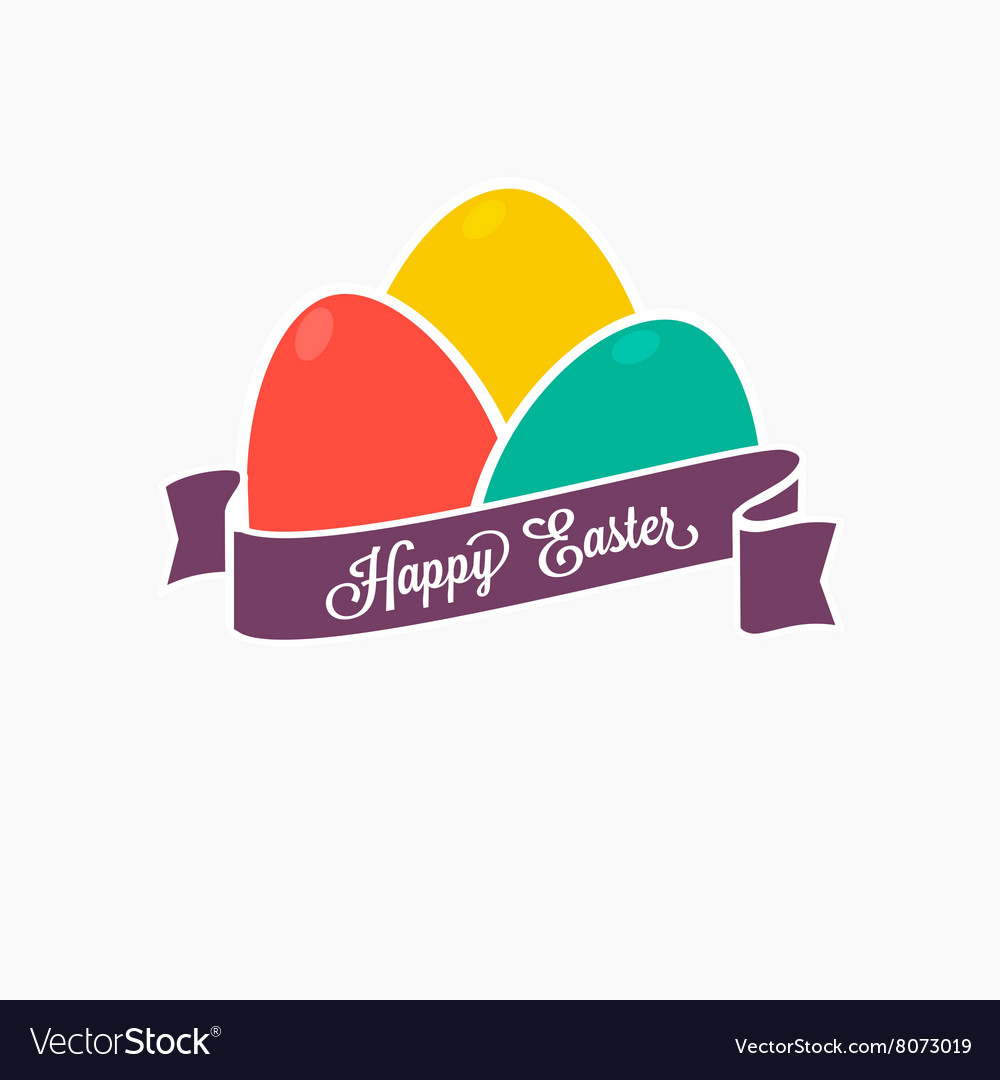 Happy Easter Set of colorful eggs with ribbon for