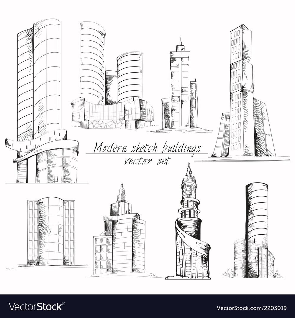 modern sketch building royalty free vector image vectorstock