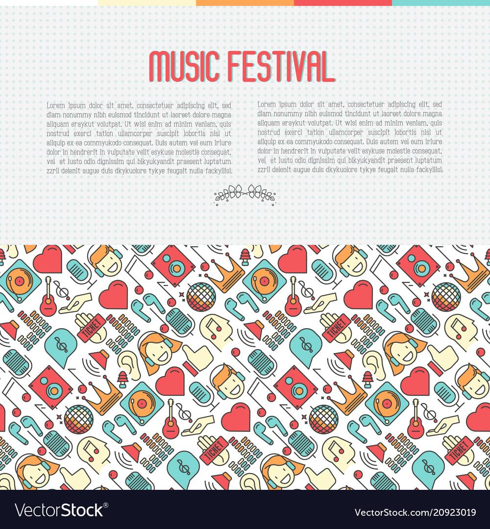 Music festival concept with thin line icons