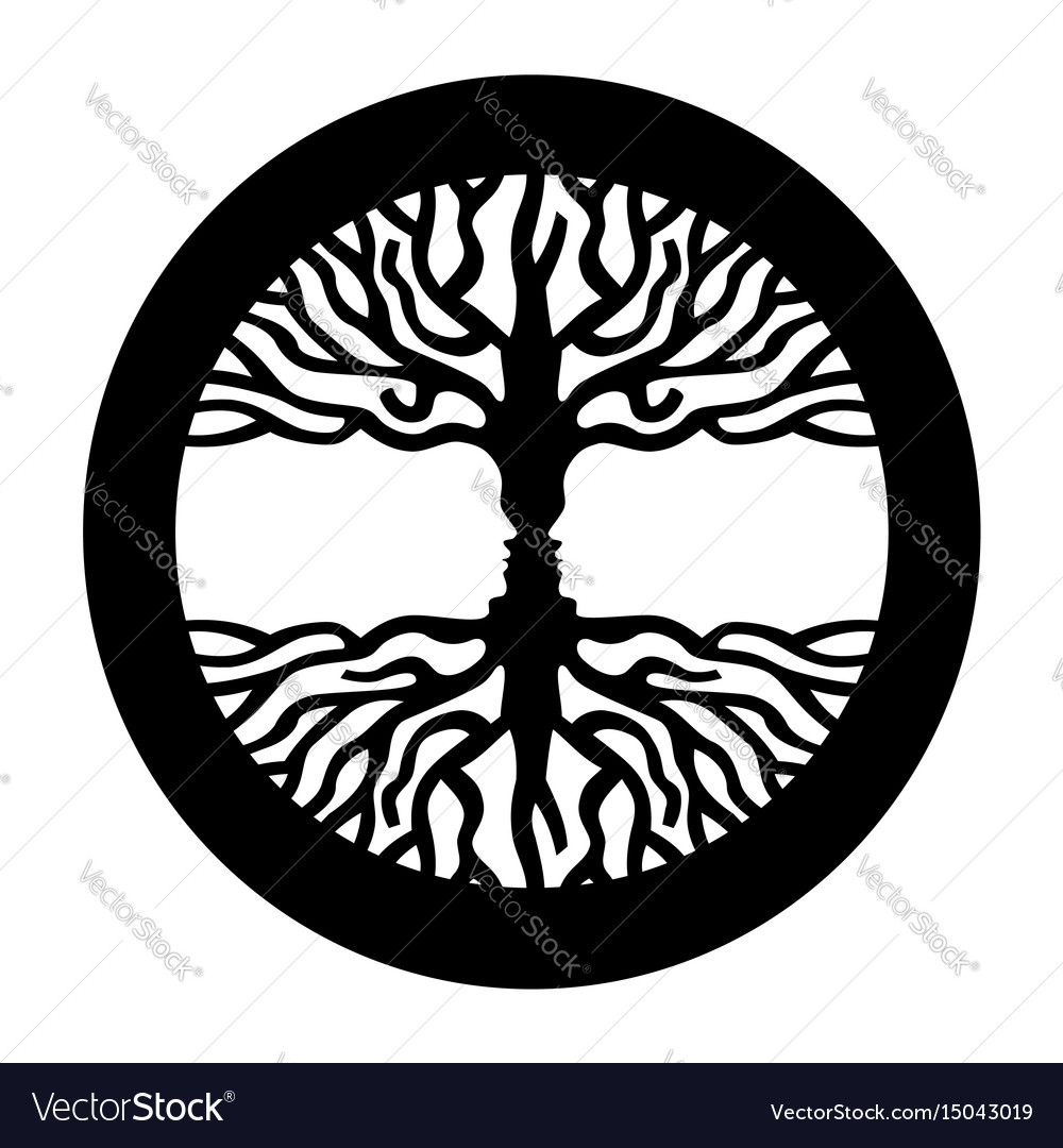 Opposite man face in human concept tree symbol