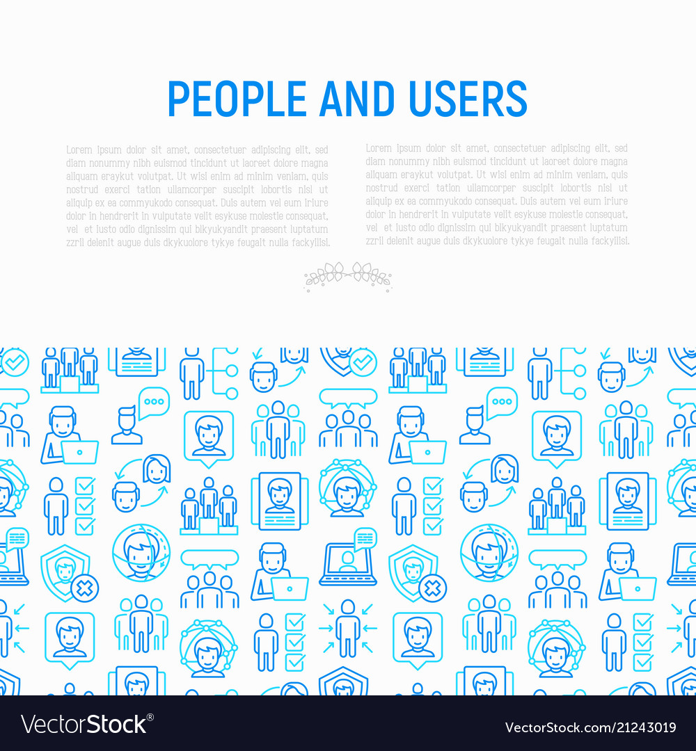 People and users concept with thin line icons