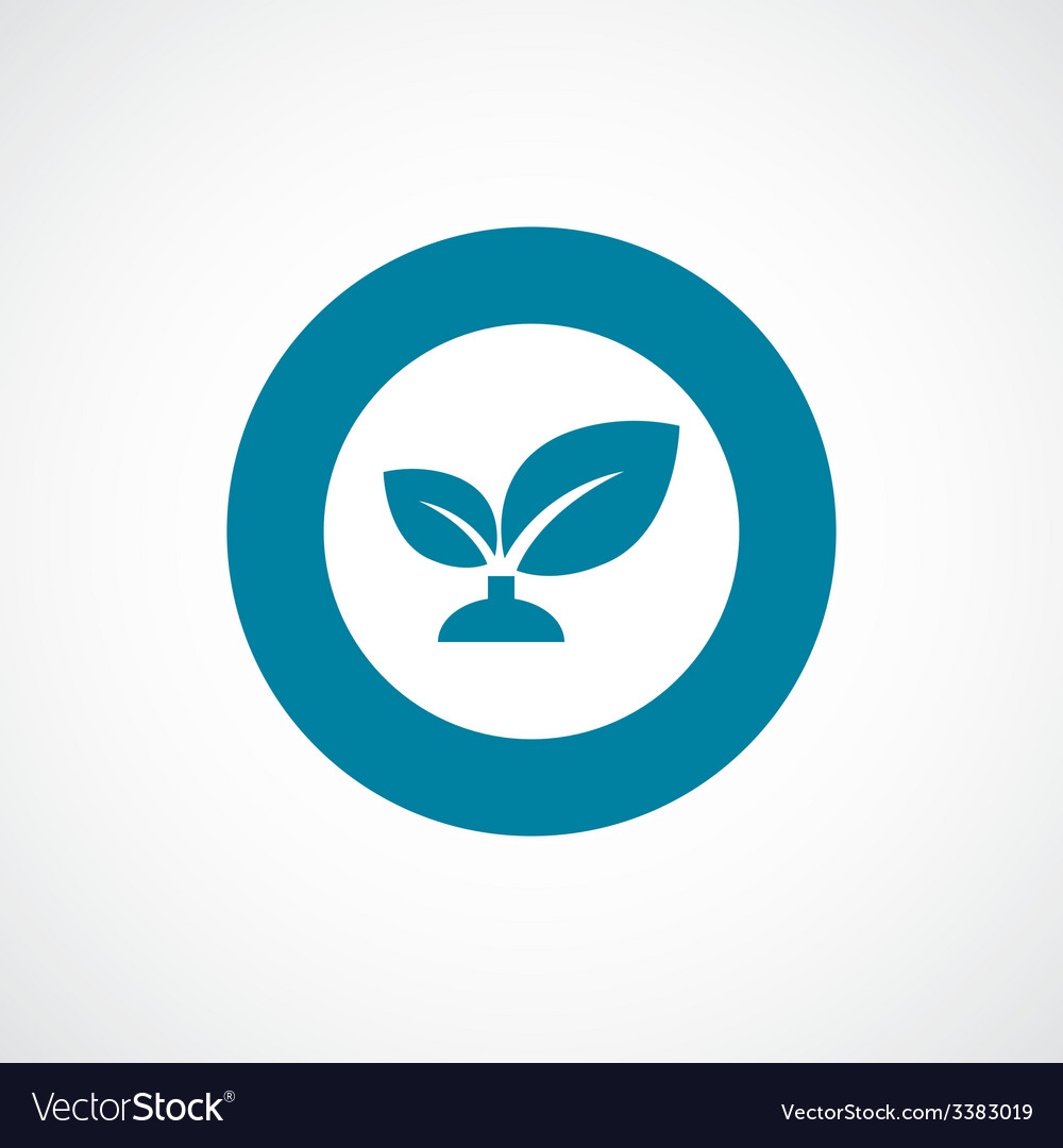 Plant bold blue border circle icon