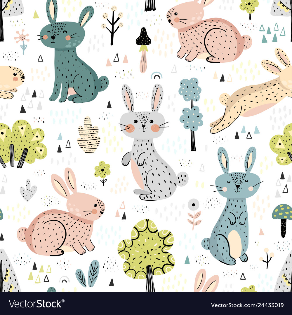 Rabbits in woods cute seamless pattern