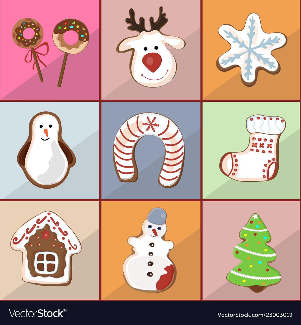 Christmas Gingerbread House Cartoon.Seamless Pattern Of Christmas Gingerbread