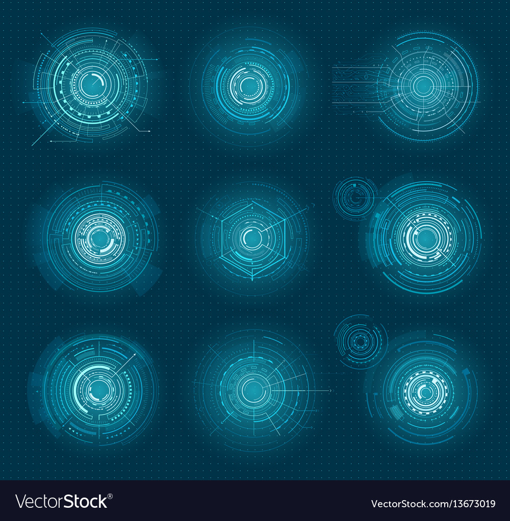 Set of blue infographic elements interface virtual