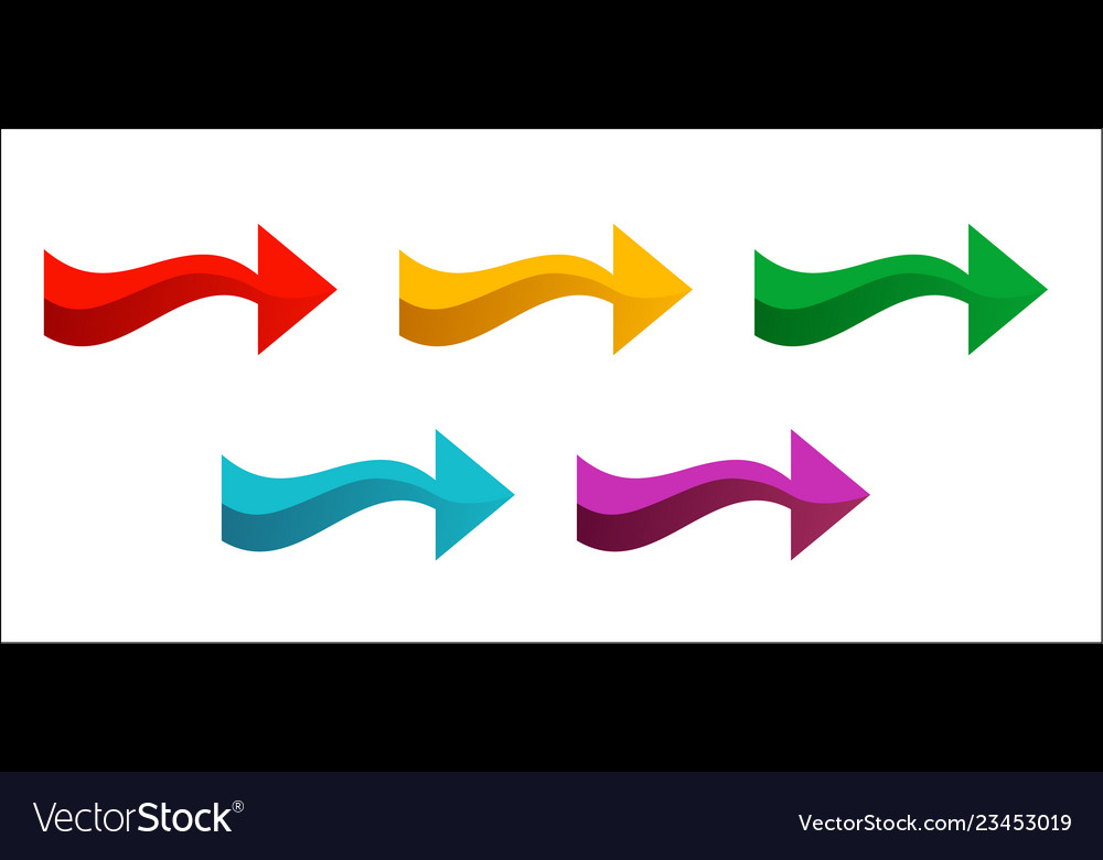 Set of colored arrows pointing right new bright