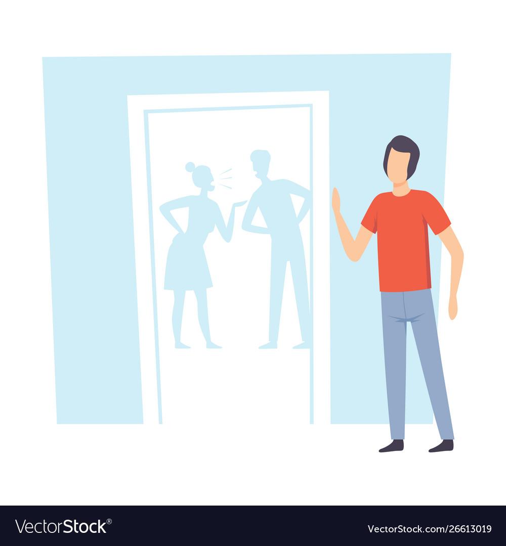 Unhappy teen boy and his quarreling parents