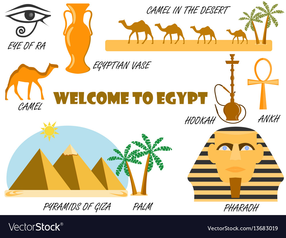 Welcome to egypt symbols of egypt set of icons