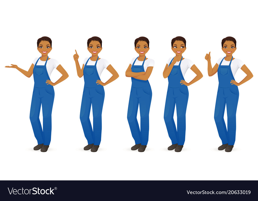Woman in overalls set