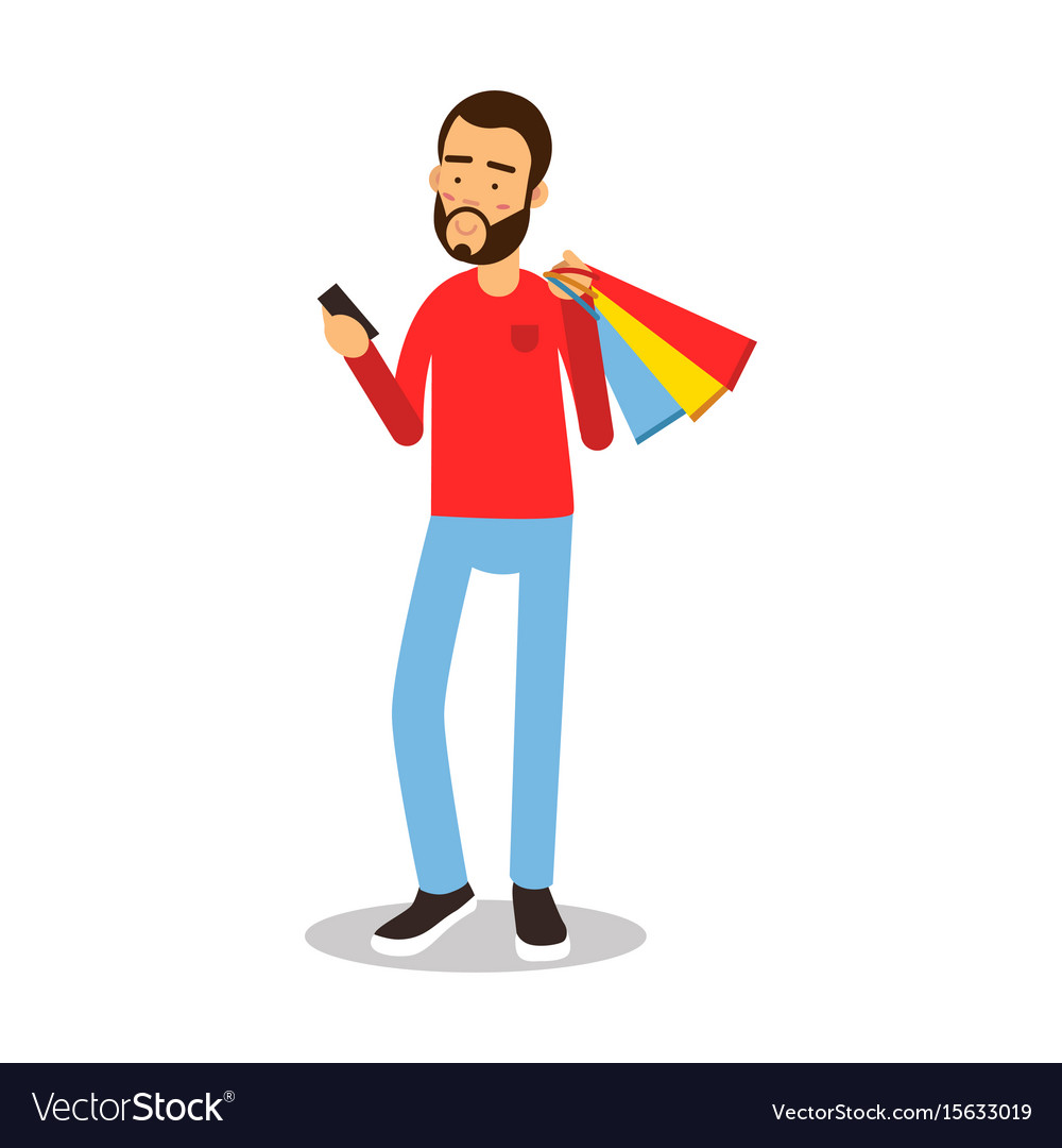 Young bearded man in red pullover standing with vector image