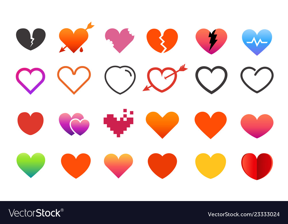 Different style heart symbols collection elements