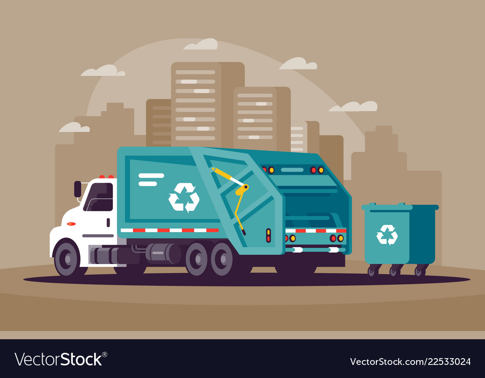Garbage collection in the city in the garbage