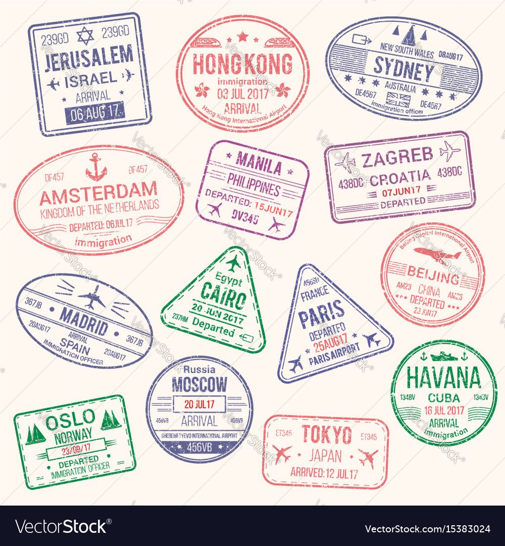 Icons of travel city passport stamp vector image