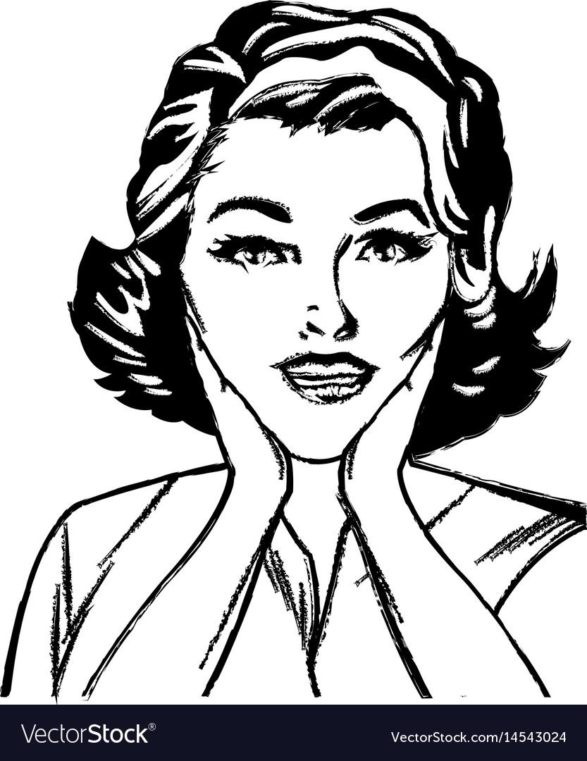 Portrait woman surprise attitude pop art sketch vector image