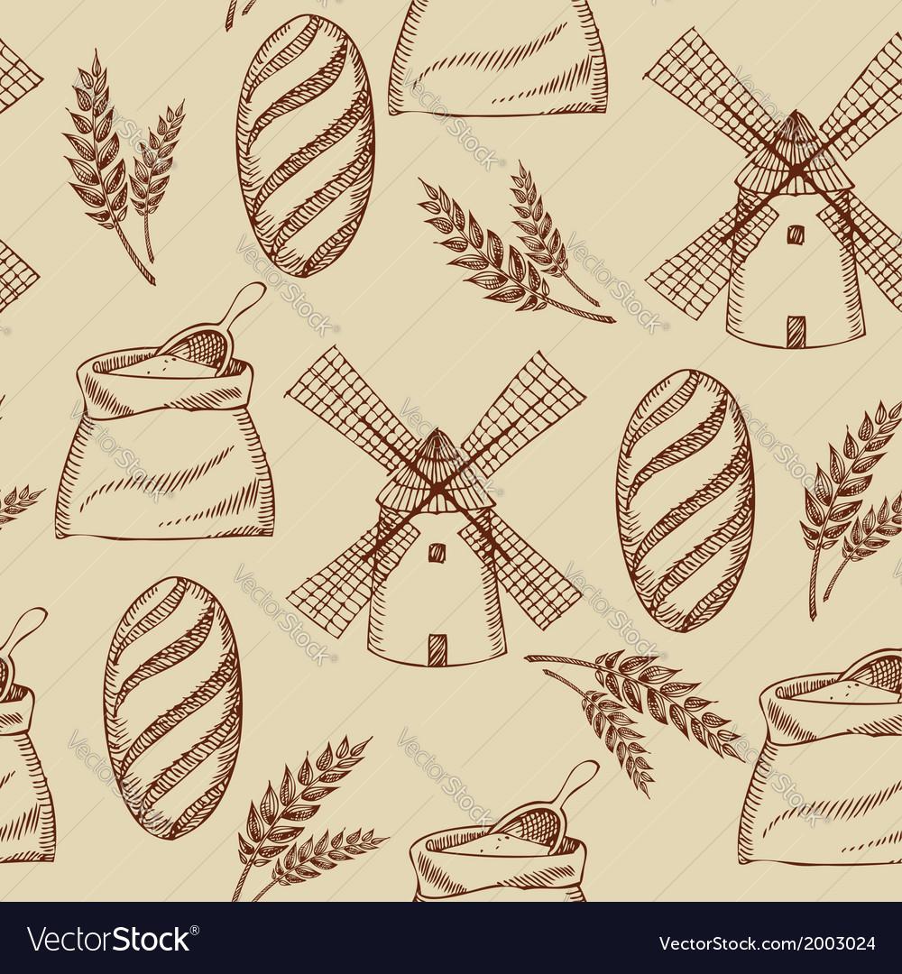Seamless bakery pattern Retro design
