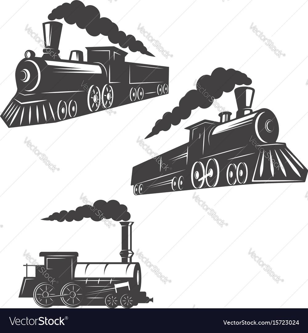 Set of trains icons isolated on white background