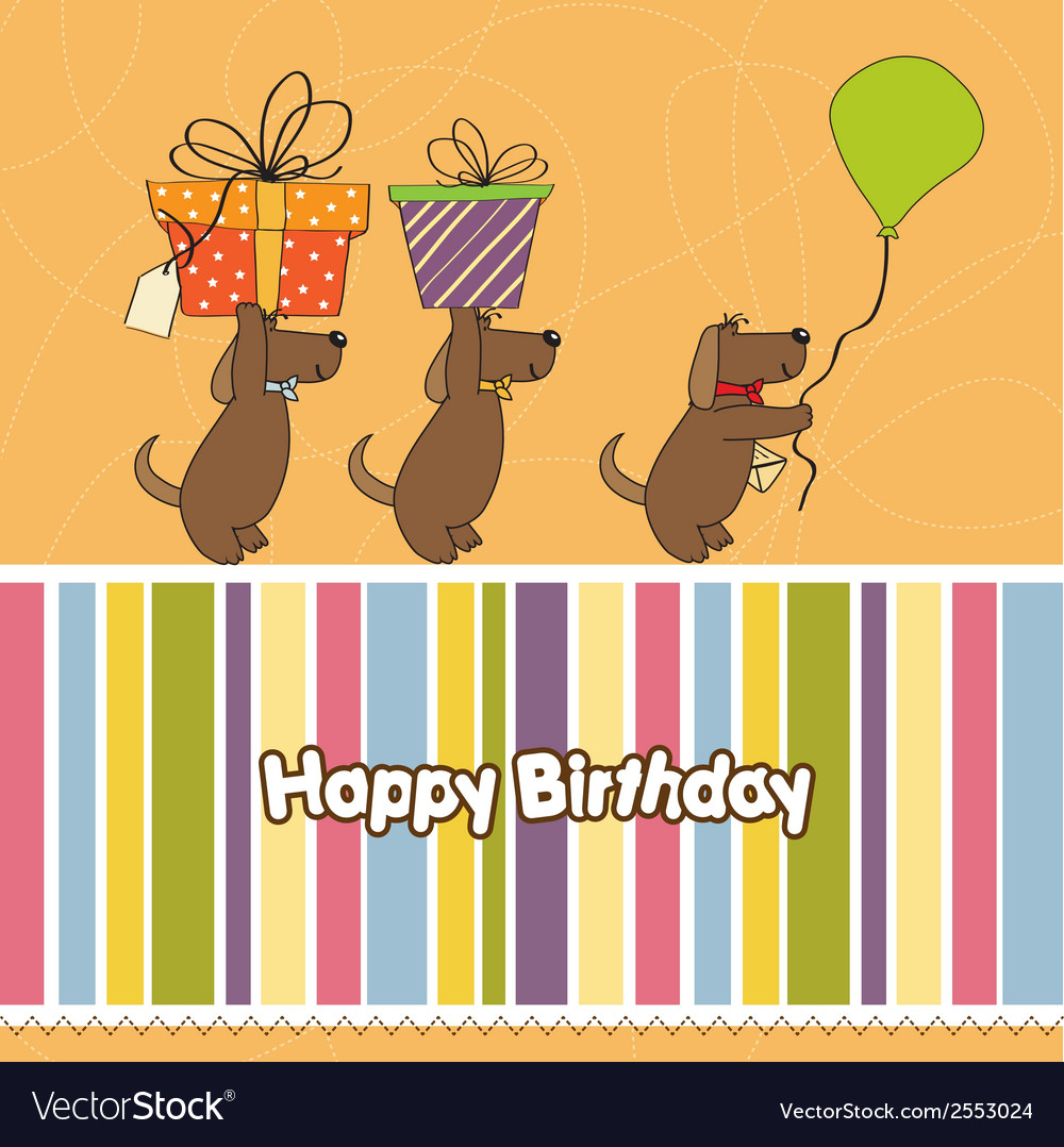 Three Dogs That Offer A Big Gift Birthday Greeting Vector Image