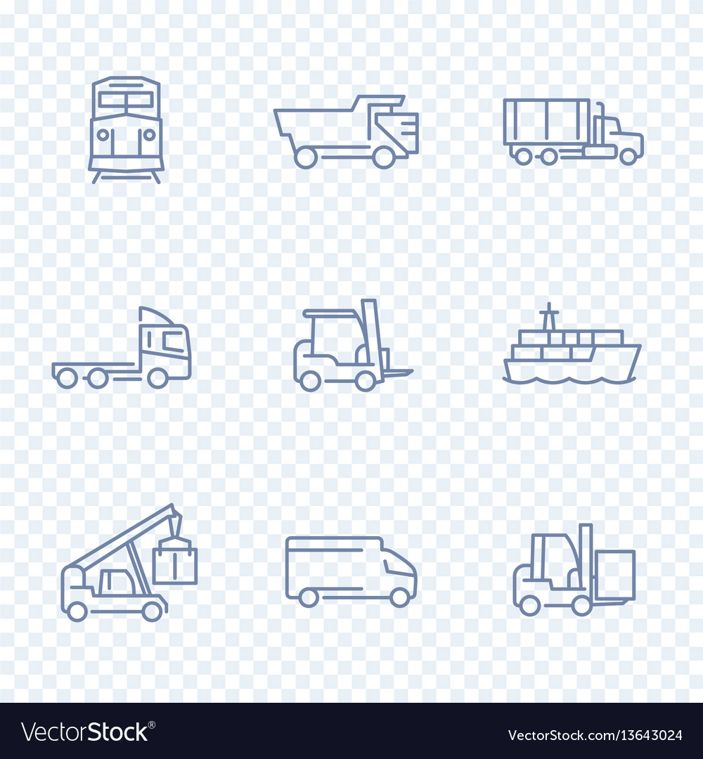 Transportation icons forklift cargo ship train
